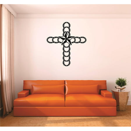 Custom Wall Decal : Horseshoe Cross Western Star Cowboy Cowgirl Home Decor Living Room Bedroom 20x20