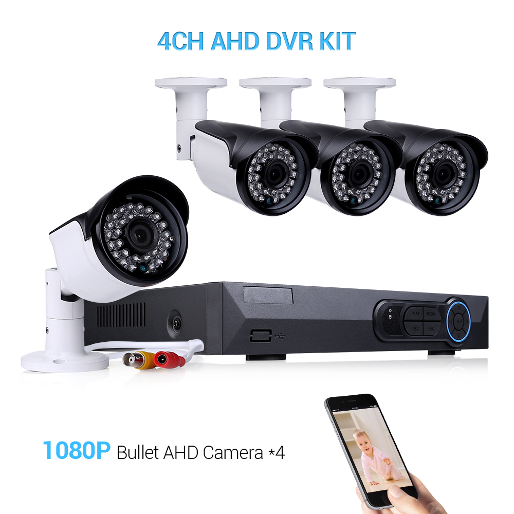 Masione 4 Channel 1080P AHD Home Video Surveillance DVR Recorder Security System with 4 HD 2.0MP Waterproof Night Vision Indoor Outdoor CCTV Camera