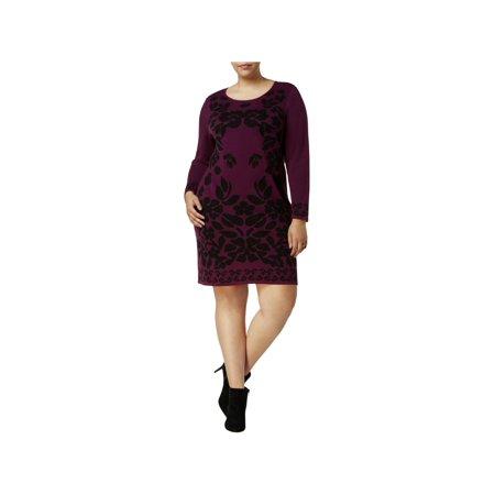 NY Collection Womens Plus Jacquard Mini Sweaterdress