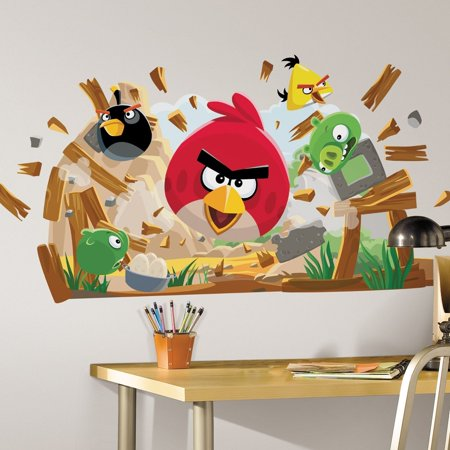 Angry birds peel stick giant wall decals for Angry bird wall mural
