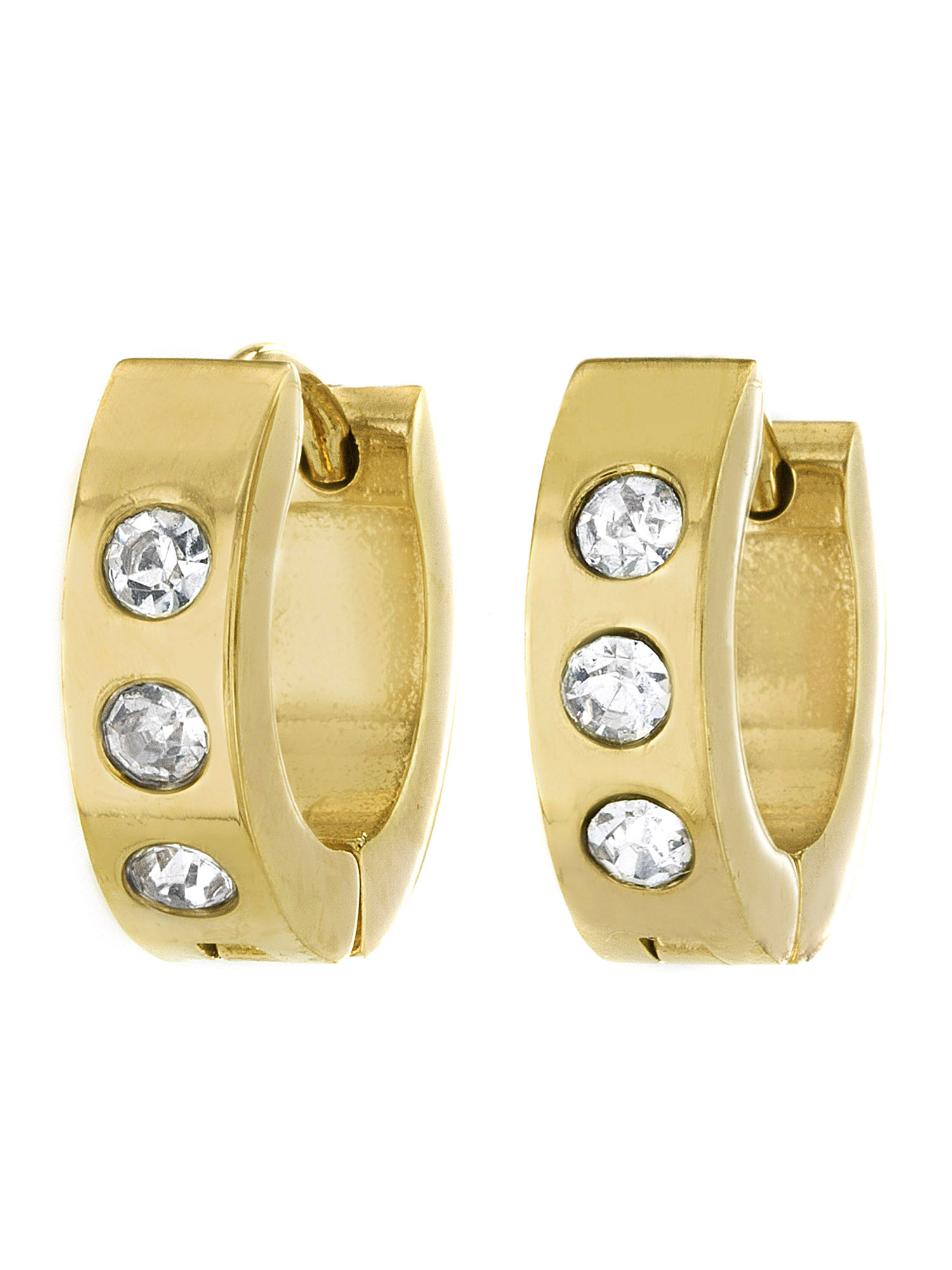 Gold Plated Stainless Steel Cubic Zirconia 13mm Hoop Cuff Earrings