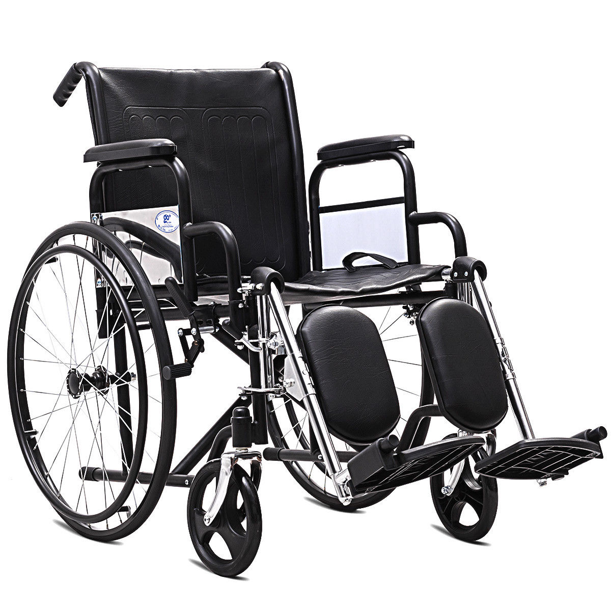 Goplus 24'' Folding Lightweight Wheelchair Arm Detachable with Elevating Legrest