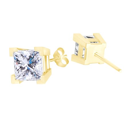 Princess Cut Cubic Zirconia Square Solitaire Stud Earrings 14k Yellow Gold Over Sterling Silver ()