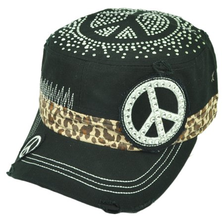 Style Rhinestone Hat (Peace Symbol Rhinestone Fashion Distress Fatigue Women Cheetah Hat Black Military)