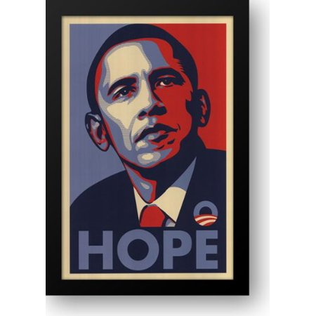 FrameToWall - RARE Obama Campaign Poster - HOPE 15x21 Framed Art Print by Fairey,