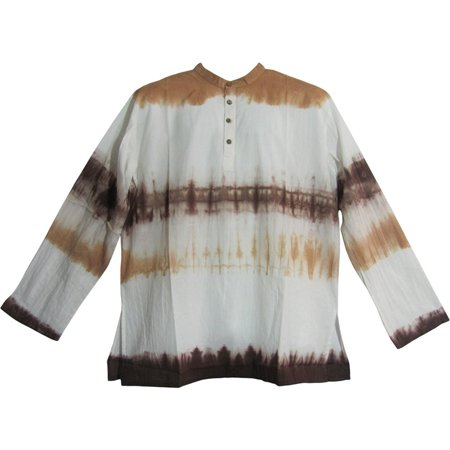 56387fced42 Ambey Craft - Mens Bohemian Cotton Tie-Dye Long Sleeve Mandarin Collar  Tunic Shirt MINESH (Small/Medium, Brown) - Walmart.com