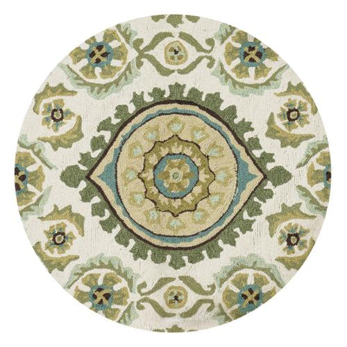 Alexander Home Hand-hooked Charlotte Ivory/ Aqua Rug (3' Round)