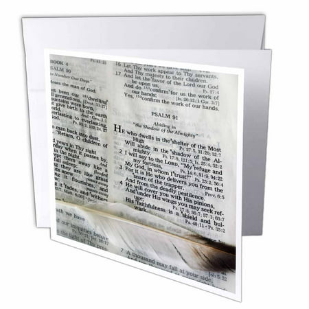 3dRose Photograph of a bible open to Psalm 91 and marked with a large feather., Greeting Cards, 6 x 6 inches, set of 6 Bible Greeting Cards