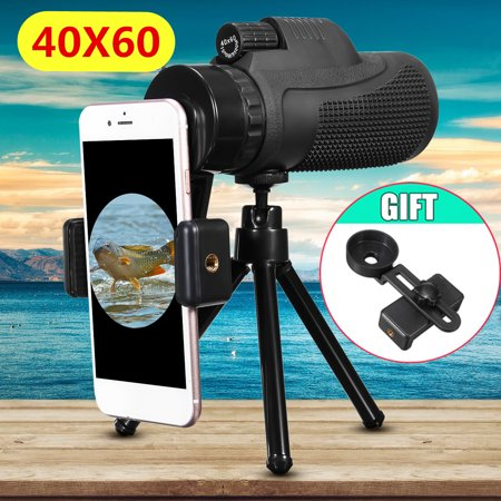 40X60 Outdoor Hiking Travel Monocular Telescope Telephoto Camera Lens + Mobile Phone Holder + Tripod for iPhone X, 8 7 6S 6 / Plus 5S, for Samsung Galaxy Note 8 S9/S8/ (Samsung Galaxy Note 4 Camera Lens)