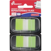 SKILCRAFT, NSN3991152, Bright Self-stick Marker Flags, 100 / Pack, Bright Green