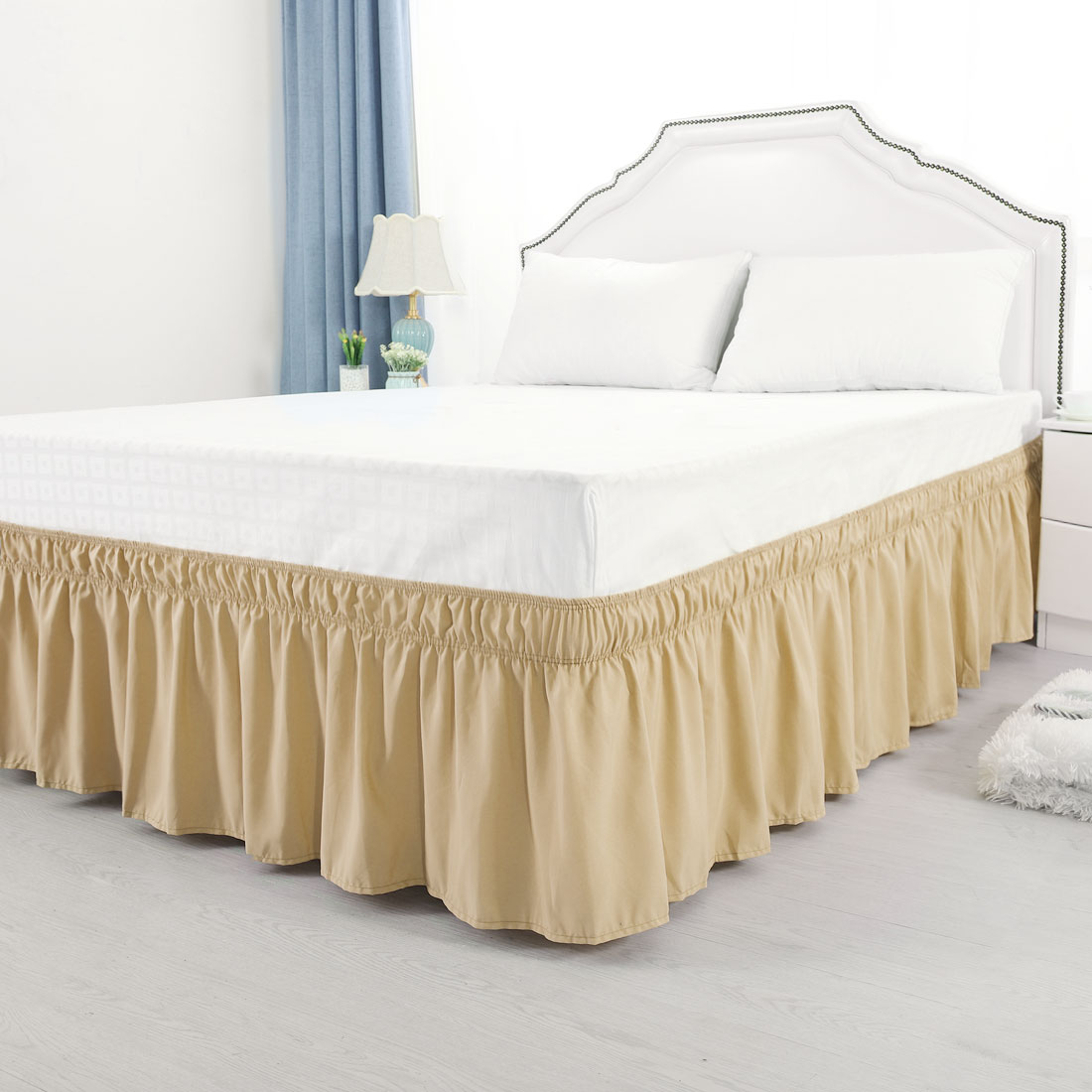 "Bed Skirt Polyester Wrap Around Dust Ruffle 15"" Drop Camel Queen:150 x 203cm - image 5 de 8"