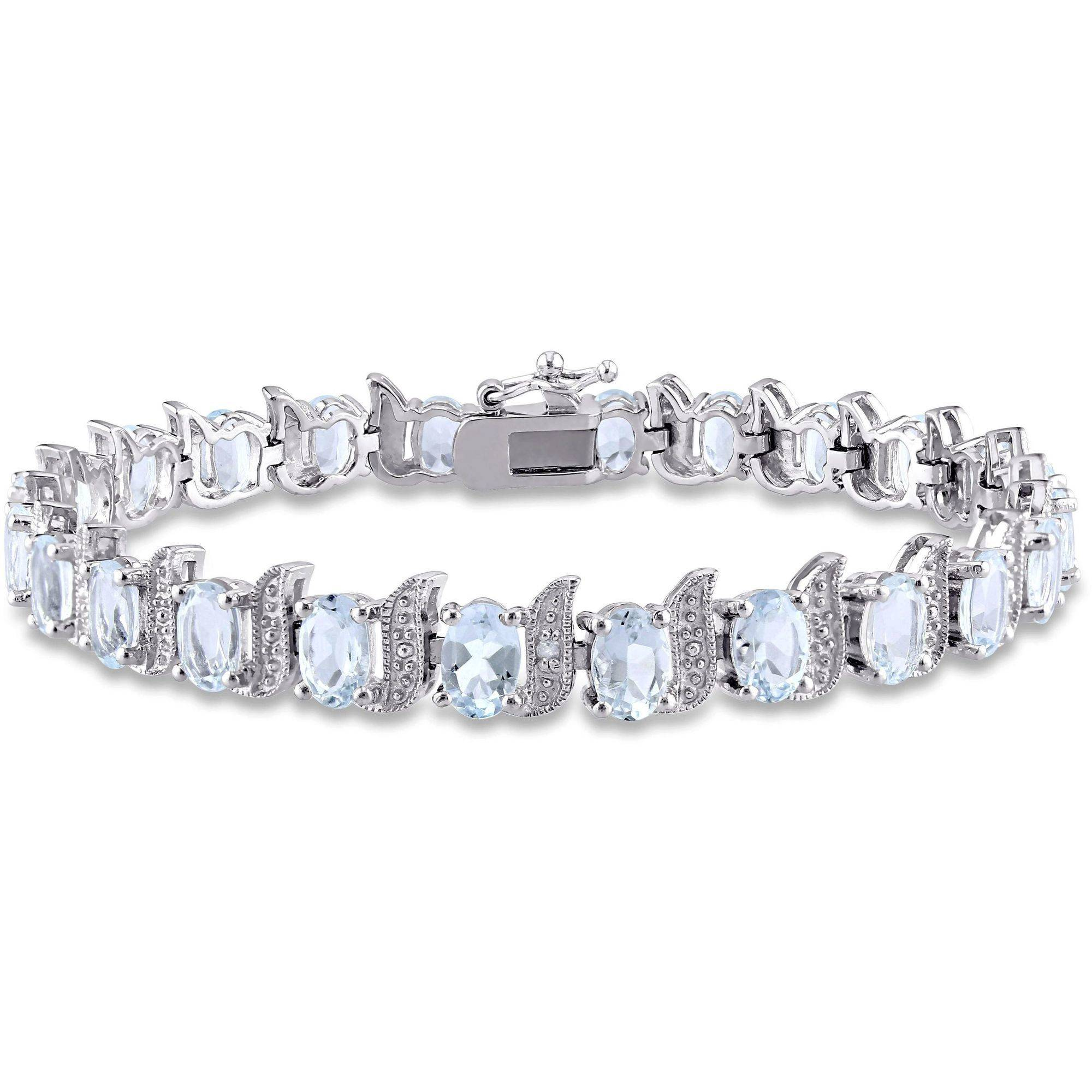 """Tangelo 9-5 8 Carat T.G.W. Aquamarine and Diamond-Accent Sterling Silver Tennis Bracelet, 7"""" by Tangelo"""