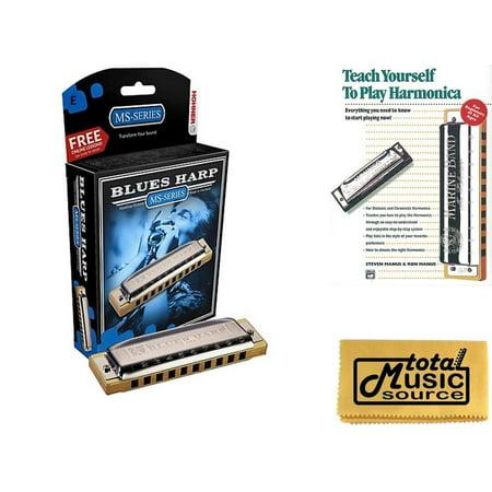 HOHNER Blues Harp MS Harmonica Key E, Made in Germany, Case & Book, 532BL-E  BK