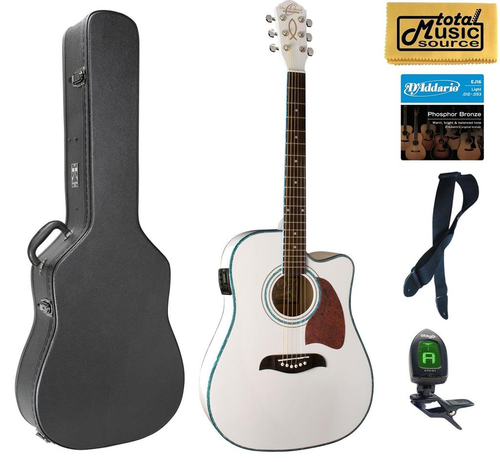 OG2CE Oscar Schmidt Acoustic/Electric Guitar Hard Case Bundle,  Christian, OG2CEWH CASEPACK