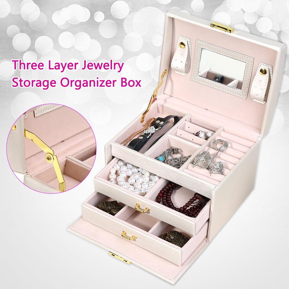 Eecoo Jewelry Organizer Box With Lock Three Layers Pu Storage Box