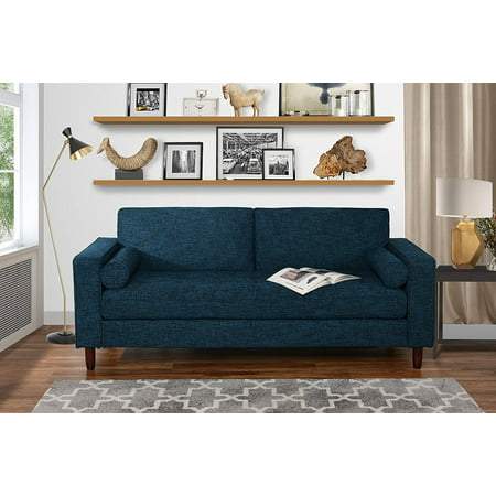 Modern Fabric Sofa with Tufted Linen Fabric - Living Room Couch (Dark Blue)
