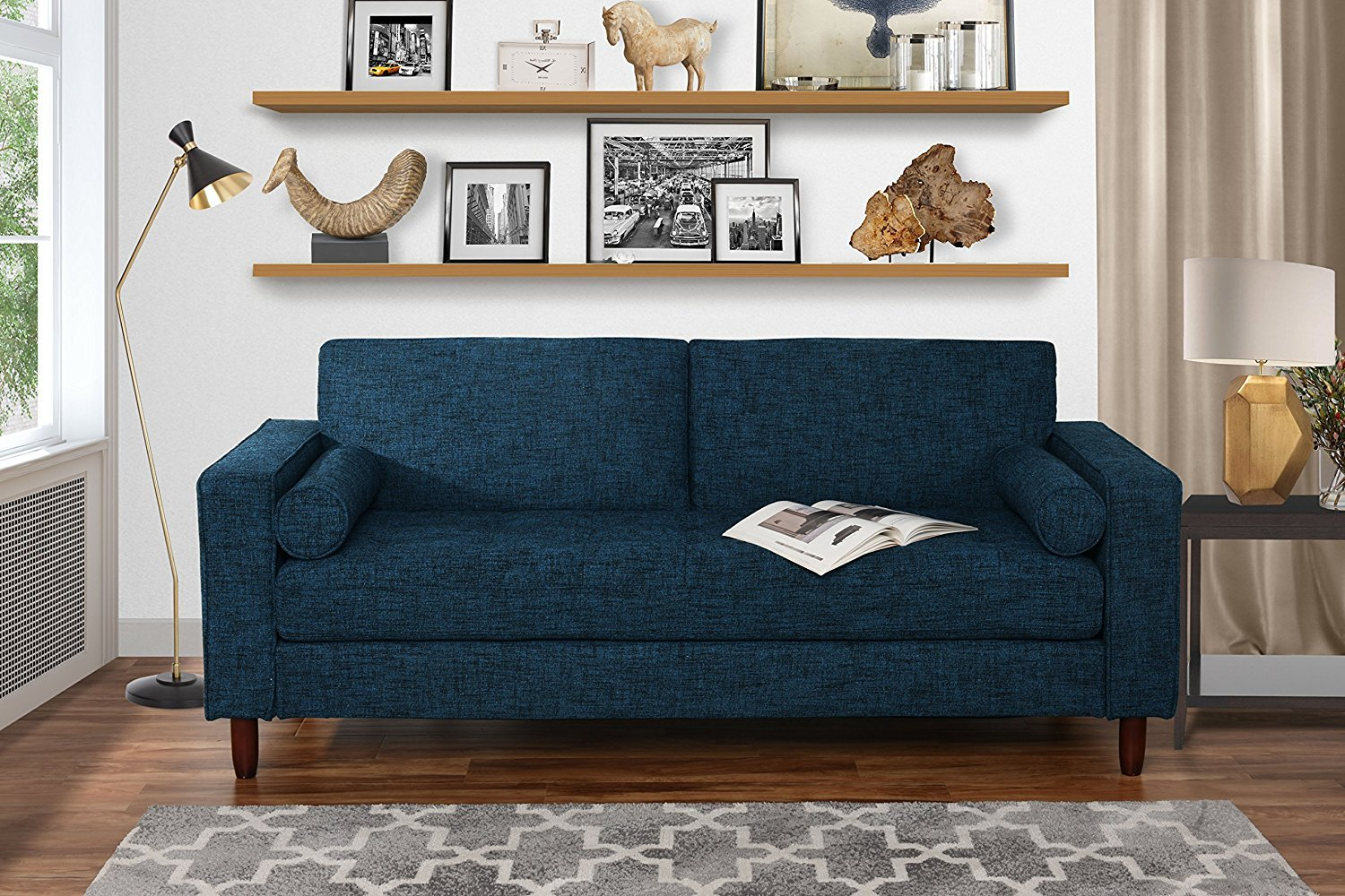 Superbe Modern Fabric Sofa With Tufted Linen Fabric   Living Room Couch (Dark Blue)