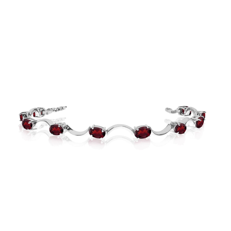 14K White Gold Oval Garnet Curved Bar Bracelet by