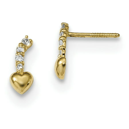 14k Yellow Gold Cubic Zirconia Cz Heart Drop Dangle Chandelier Screwback Post Stud Earrings Love Gifts For Women For Her ()
