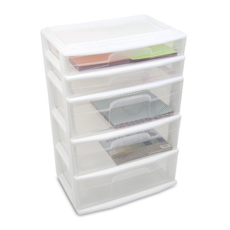 Homz 5-Drawer Wide Plastic Tower without Casters, Multiple Colors