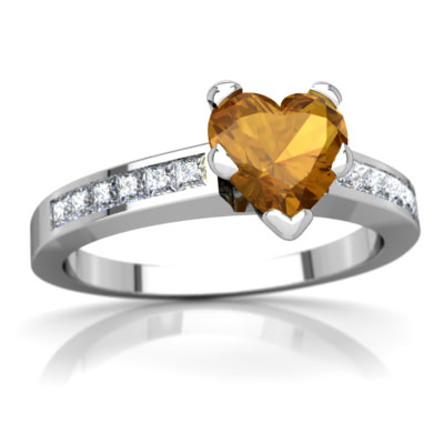 Citrine Channel Set Ring in 14K White Gold by