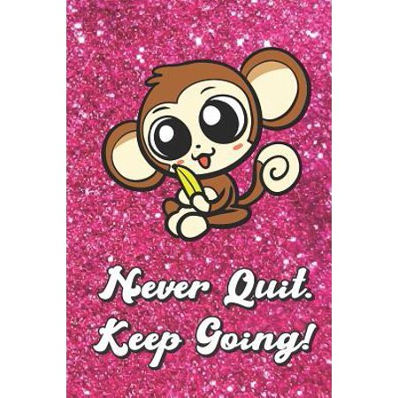 Never Quit Keep Going: Brown Monkey On Pink Glitter Stars Effect Background, Lined Paper Note Book For Girls or Boys To Draw, Sketch & Crayon (Keep The Conversation Going With A Girl)