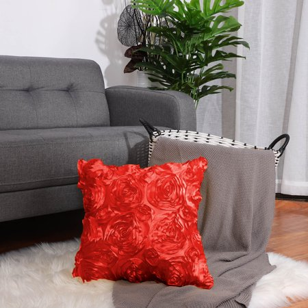 "3D Satin Rose Flower Throw Pillow Cover Shells,Pure Floral Cushion Covers for Couch Sofa,16"" x 16"", Red"