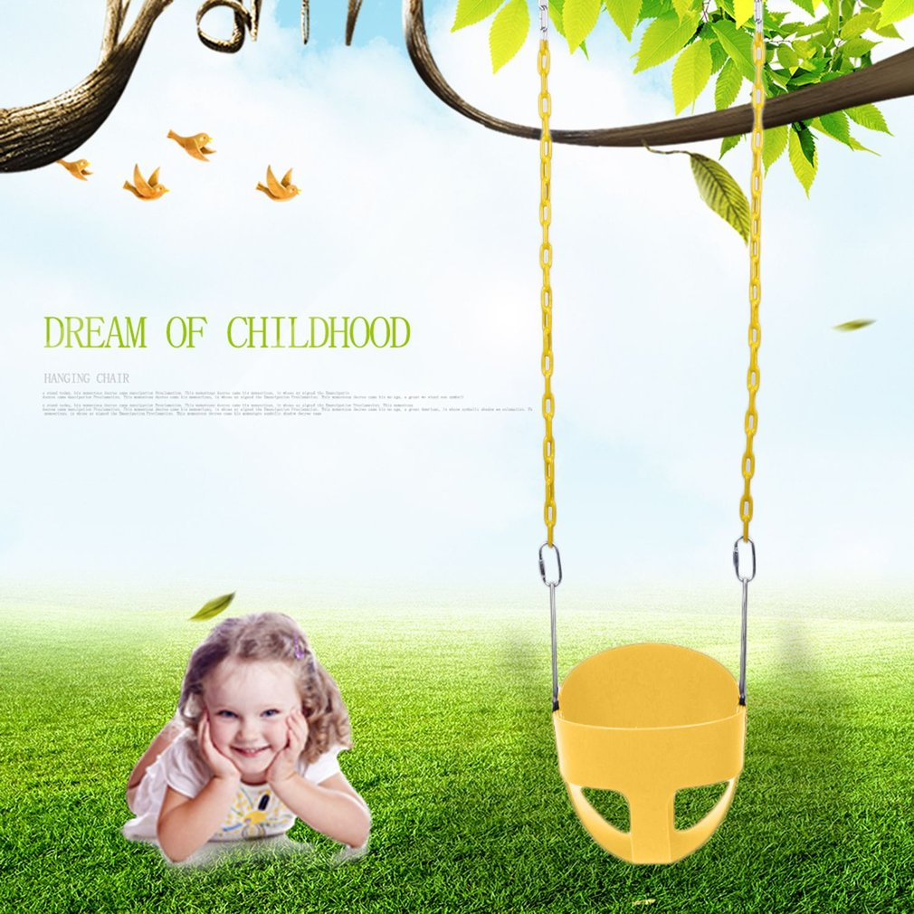 Funny Full Bucket Children Swing With Chain Garden Or Yard Tree Kids Safe Hanging Swing Seat Chair Toys by OUTAD