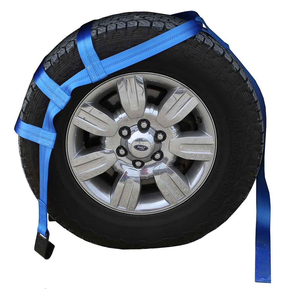 Blue Extra Large Tow Dolly Basket Strap with Flat Hooks