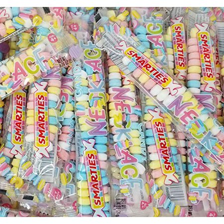 Pastel Colored Candy (Smarties Candy Necklaces, Gluten-Free, Fruit Flavor, Pastel Color Hard Candy Accessories for Kids Aged 4 Years and Older, Individually Wrapped, 20 Count 1 Pound)