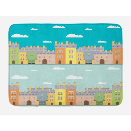 Dutch Bath Mat, Colorful Houses Traditional Architecture of Holland Cartoon Old Town Illustration, Non-Slip Plush Mat Bathroom Kitchen Laundry Room Decor, 29.5 X 17.5 Inches, Multicolor, (Old Dutch House)