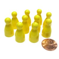 Koplow Games Set of 10 Halma 25mm Pawns Pawn Peg Pegs Board Game Play Pieces - Yellow #04239