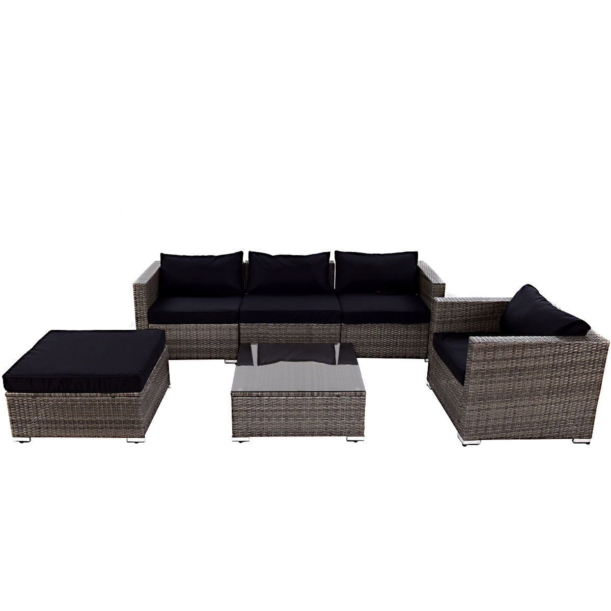 Fantastic Costway 6 Piece Rattan Wicker Patio Furniture Set Sectional Sofa Couch Yard W Black Cushion Home Interior And Landscaping Oversignezvosmurscom