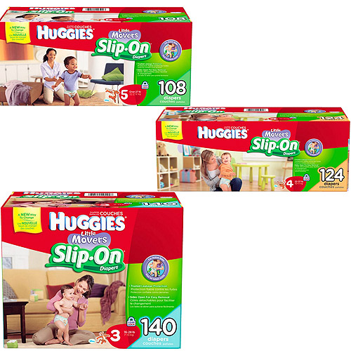HUGGIES Little Movers Slip-On Diapers, Size 3