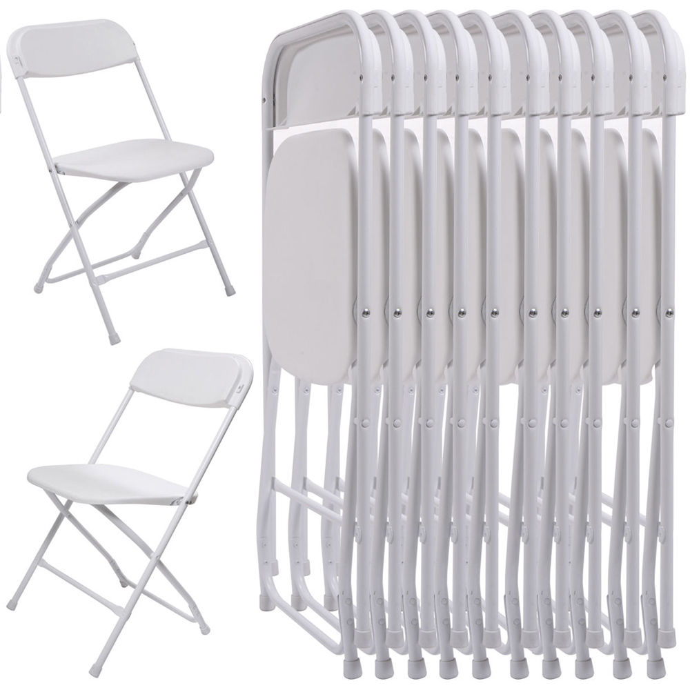 Ktaxon 10Pcs Commercial Plastic Folding Chairs Stackable Wedding Party  Chairs,White