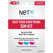 Net 10 Keep Your Own Phone Mini SIM Pack Universal Tri-punch Bundle
