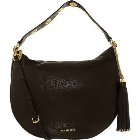 2dae47732ab7 Michael Kors Women s Large Brooklyn Convertible Leather Leather Shoulder Bag  Hobo - Coffee - image 1 ...