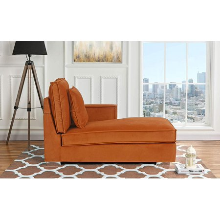 Classic Chaise (Classic Living Room Velvet Chaise Lounge (Rust))