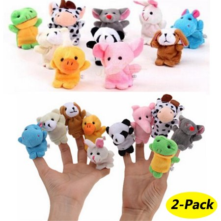 20 Animals Set Velvet Cute Animal Finger Puppets Dolls Props Toys for Children