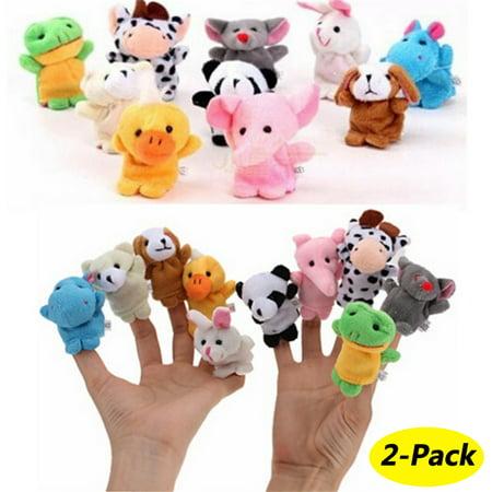 20 Animals Set Velvet Cute Animal Finger Puppets Dolls Props Toys for Children