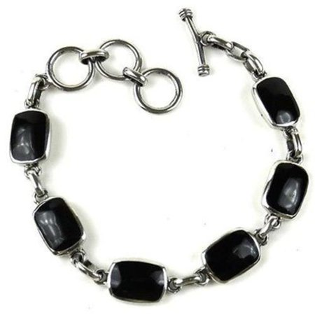 Handcrafted Mexican Alpaca Silver and Onyx Bracelet
