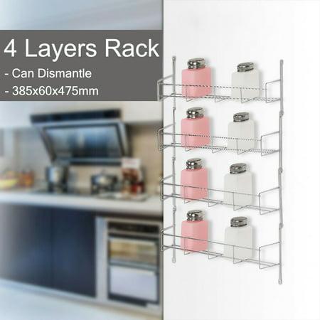 4 Tier Spice Rack Closet Organizer Over The Door Pantry Bottle Jar Organizer Bathroom