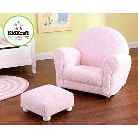 KidKraft - Chenille Rocker and Ottoman, Pink - Walmart.com