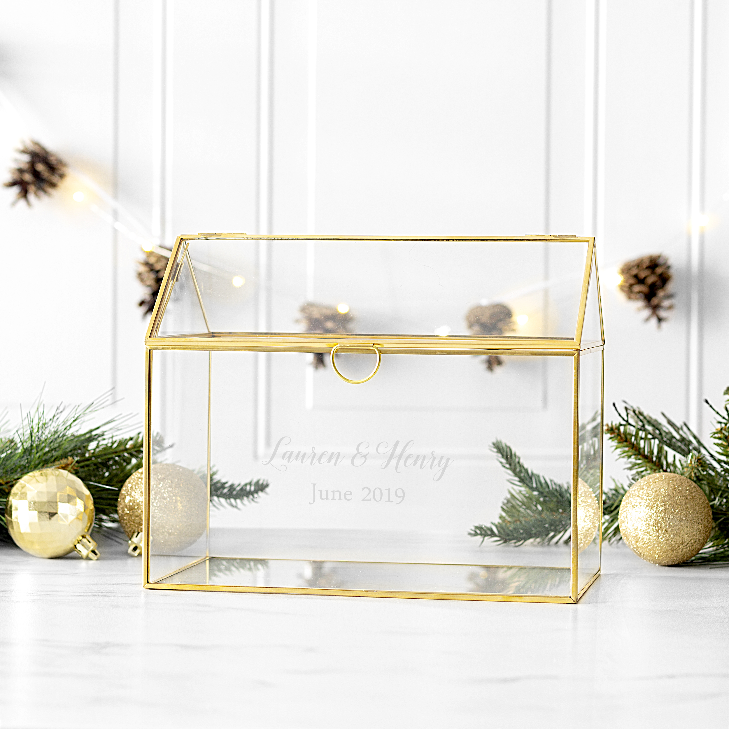 Personalized Glass Wedding Gift Card Holder, Gold