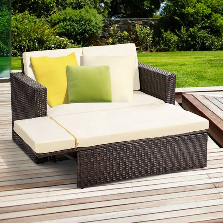 Swan Patio Loveseat (Gymax 2PCS Patio Rattan Loveseat Sofa Ottoman Daybed Garden Furniture Set W/Cushions)