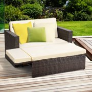 Gymax 2PCS Patio Rattan Loveseat Sofa Ottoman Daybed Garden Furniture Set W/Cushions