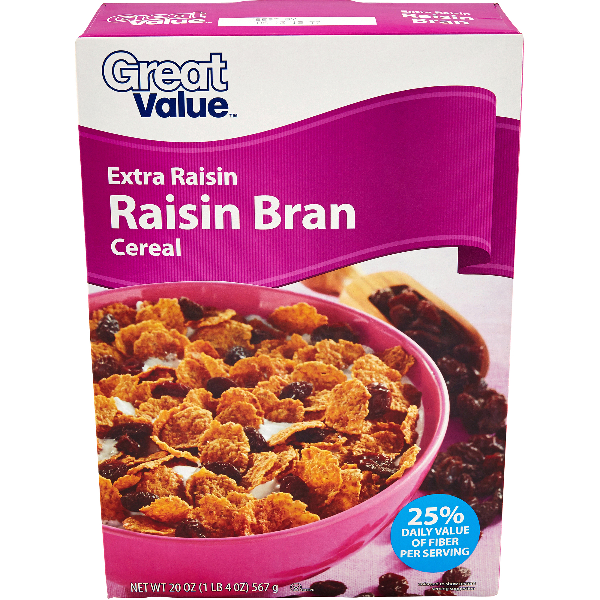 Great Value Extra Raisin Bran Cereal, 20 oz