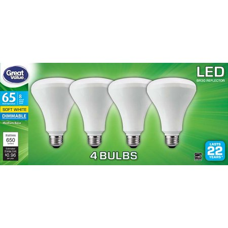 Great Value LED Light Bulb, 8W (65W Equivalent) BR30, Dimmable, Soft White,