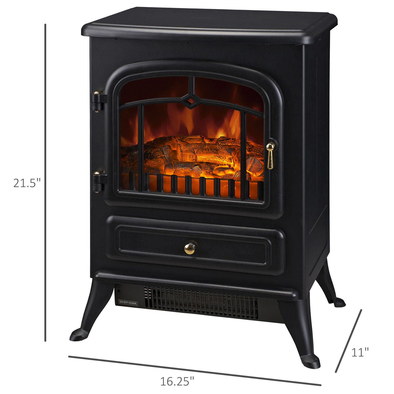 Homcom Freestanding Electric Fireplace Heater In Black With Realistic Flames 21 H 1500w Walmart Com Walmart Com