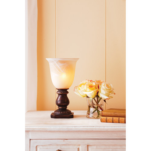 Better Homes and Gardens Up Light with Glass Shade, Mahogany